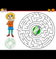cartoon maze game with girl and phone vector image vector image