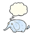 cartoon sad little elephant with thought bubble vector image