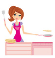 Chef girl fries pancakes on Shrovetide it is vector image