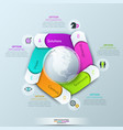 circular infographic design template with 5 spiral vector image vector image
