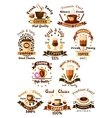 Coffee cafe cafeteria emblems set vector image