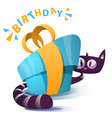 cute kitty characters with blue gift vector image