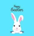 cute rabbit looks out of the hole happy easter vector image vector image