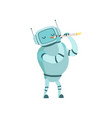 cute robot musician playing flute musical vector image