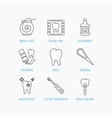 Dental floss tooth and implant icons Mouthwash vector image