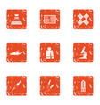 Difficult material icons set grunge style