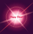 diwali greeting card with shine rangoli vector image vector image