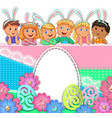 easter bright egg design paper lace flowers vector image