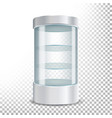 empty glass showcase realistic round vector image vector image