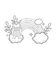 fairytale monster with clouds and rainbow vector image