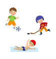 flat boys doing sports set vector image vector image