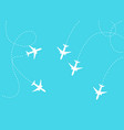 flat plane and its track on blue background vector image vector image