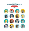 Flat Style Hipster Animals Avatar Icon Set for vector image