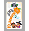 halloween party design with cute kids invitation vector image vector image