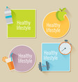 healthy lifestyle flat stickers food water and vector image vector image