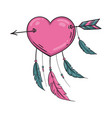 indian heart with arrow and ornament vector image vector image