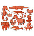 isolated set many animals vector image vector image
