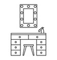 make up room mirror table icon outline style vector image
