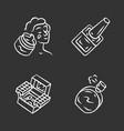 makeup products chalk icons set feminine hygiene vector image