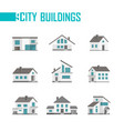 nine small city buildings set of icons vector image vector image