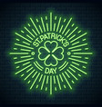 patricks day neon logo patricks shamrock clover vector image vector image