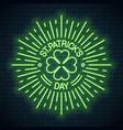 patricks day neon logo shamrock clover vector image
