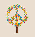 peace sign tree made spring flowers vector image vector image