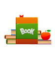 red apple on a pile of books cartoon objects vector image