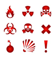 Red warning icons vector image vector image