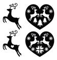 Reindeer deer jumping Christmas icons set vector image