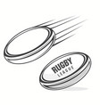 rugby ball icon with shadow american football vector image