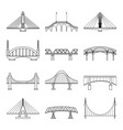 set linear icons bridges vector image