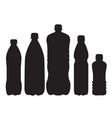 set of 5 bottle silhouettes vector image