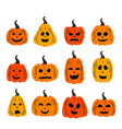 set of isolated funny pumpkins vector image