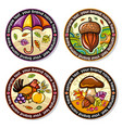 set of seasonal autumn round drink coasters 2 vector image