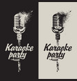 set of two banners karaoke party with a microphone vector image vector image