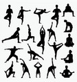 silhouettes man yoga vector image vector image