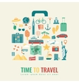 Suitcase silhouette with travel flat icons Travel vector image
