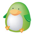 thick green toy penguin isolated on a white vector image vector image