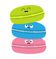 three macaron or macaroon icon sweet bakery vector image