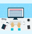 top view of workplace enter of content vector image vector image