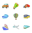Transport icons set cartoon style vector image vector image
