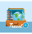 travel briefcase with global place destination vector image vector image