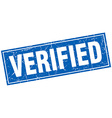 verified blue square grunge stamp on white vector image vector image