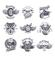 vintage monochrome motorcycle labels set vector image vector image
