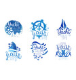 yacht club logo collection sailing sports blue vector image