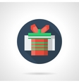 Red gift box blue round flat icon vector image