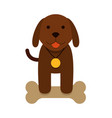 brown puppy dog with bone - flat cartoon vector image