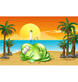 A monster sleeping soundly at the beach vector image vector image