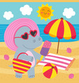 basic rgbhippo girl with ice cream on beach vector image vector image